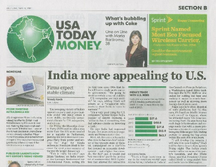 USA Today Article India More Appealing to US